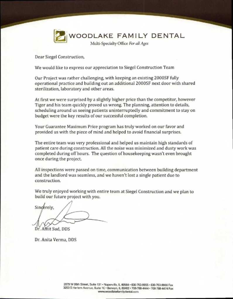 Testimonials from the Woodlake Family Dental. Siegel Constraction.