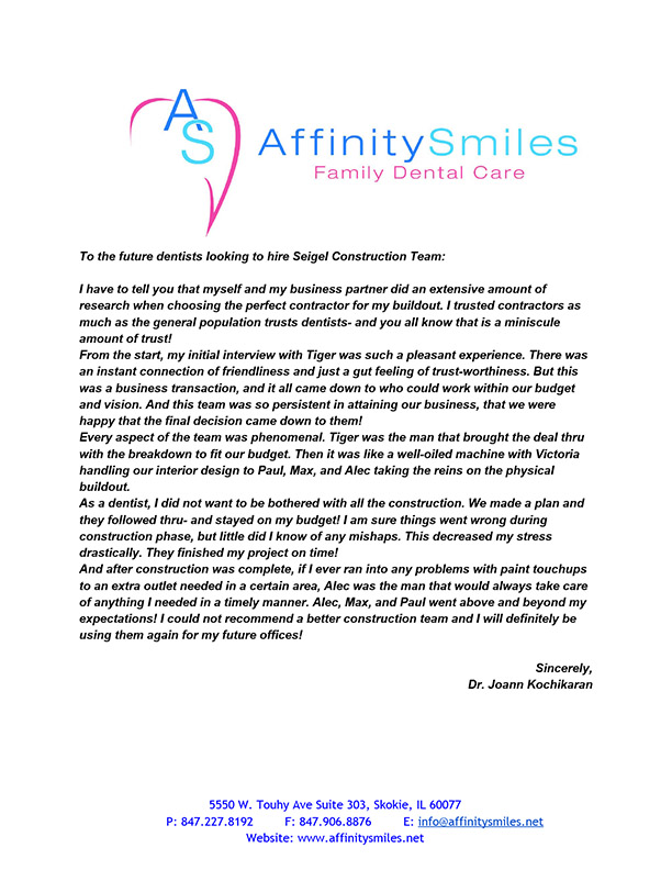 Testimonials from the Affinity Smiles. Siegel Constraction.